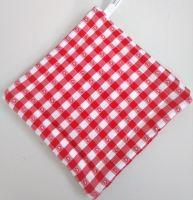 Textilní podložka pod hrnec 20x20cm červený kanafas tkaný