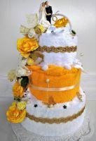 Veratex Textilní dort třípatrový - žluto/bílý