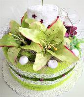 Veratex Textilní dort svícen žlutozelený