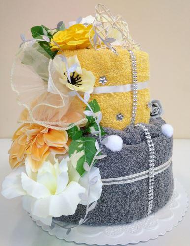 Veratex Textilní dort dvoupatrový šedožlutá růže