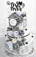 Veratex Textilní dort třípatrový bílo/šedé růžičky SKLADEM POSLEDNÍ 1KS