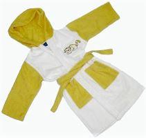 Dětský froté župan s výšivkou 0-2 roky (žluto-bílý)