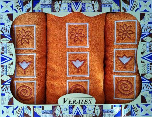 Luxusní dárkový froté set 1 osuška 2 ručníky (rezavá)