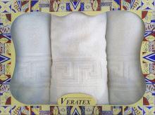 Dárkový froté set řecká bordura 2ks ručníku a 1ks předložky 500g - bílá