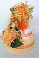 Veratex Textilní dort třípatrový - žluté chryzantémy