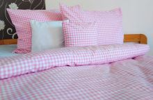 Bavlněný povlak na polštář LUX 70x90 cm kanafas růžové srdíčko