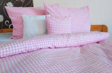 Tkané bavlněné povlečení LUX 70x90, 140x200 kanafas růžové srdíčko