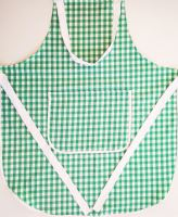 Zástěra kuchyňská tkaný kanafas zelené srdíčko 70x80cm