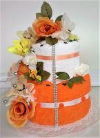 Veratex Textilní dort dvoupatrový oranžovová růže