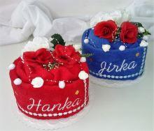 Veratex Textilní dorty Srdce s vyšitými jmény novomanželů jedná se o 2ks.