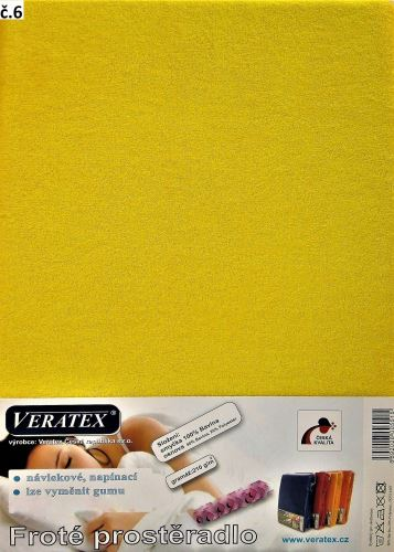Froté prostěradlo  90x210 cm (č. 6-stř.žlutá)