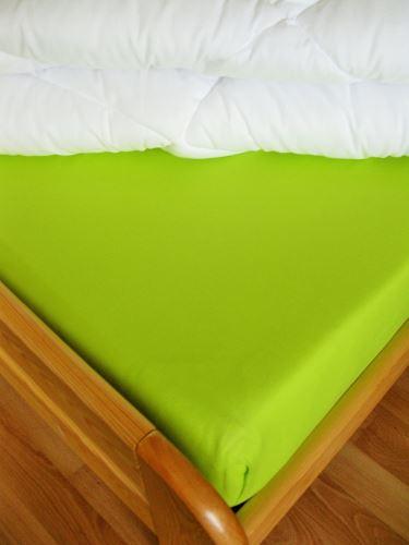 Bavlněné prostěradlo jednolůžko 140x220 cm (žlutozelené)