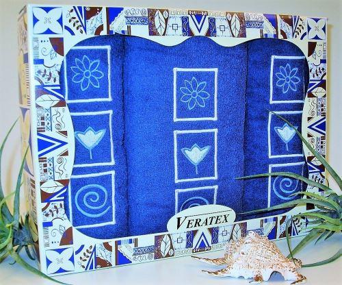 Luxusní dárkový froté set 1 osuška 2 ručníky (tm.modrá)