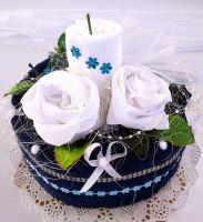 Veratex Textilní dort svícen modro/ bílý 2x ručník SKLADEM POSLEDNÍ 1KS