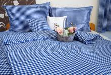 Bavlněné povlečení prodloužené LUX 70x90 + 140x220 cm kanafas modré srdíčko
