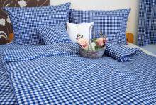 Tkané bavlněné povlečení  LUX 70x90, 140x200 kanafas modré srdíčko