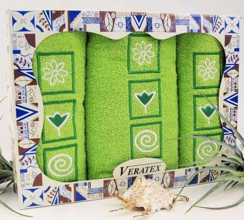 Luxusní dárkový froté set 1 osuška 2 ručníky (žlutozelená)