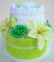 Veratex Textilní dort dvoupatrový žlutozelená lilie