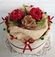 Veratex Textilní dort béžové růžičky 50x100cm