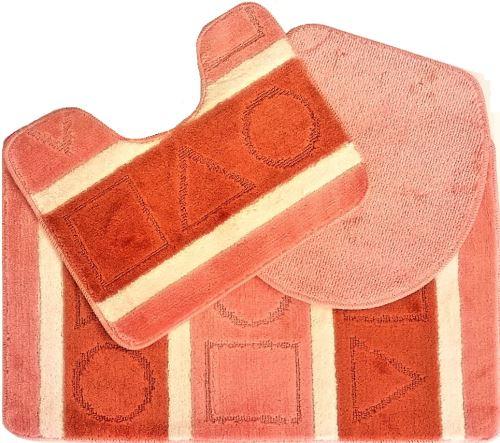 Koupelnová předložka LUX 3-dílný set cihlové čtverce