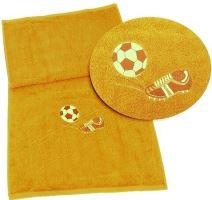 Osuška s výšivkou fotbalové kopačky a míče 70x140 sytě žlutá
