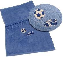 Ručník s výšivkou fotbalové kopačky a míče 50x100 král.modř
