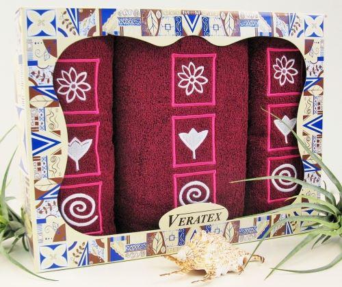 Luxusní dárkový froté set 1 osuška 2 ručníky (vínová)