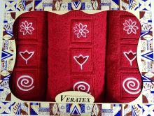 Luxusní dárkový froté set 1 osuška 2 ručníky (červená)