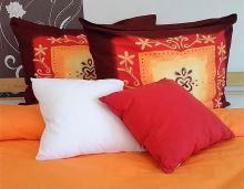 Bavlněné povlečení  70x90-140x200 (oranžové květy)