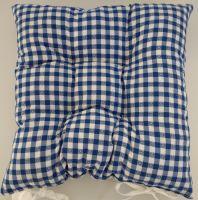 Sedák prošívaný 40x40 cm tkaný kanafas modré srdíčko