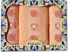 Luxusní dárkový froté set 1 osuška 2 ručníky (lososová)