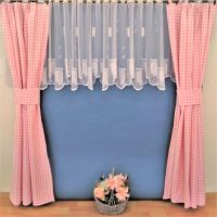 Závěs tkaný kanafas růžové srdíčko - výška 90 / šířka 70cm (malé okno)
