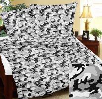 Přehoz na postel BAVLNA 140x200 cm šedý maskáč