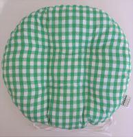 Sedák prošívaný kulatý průměr 40 cm tkaný kanafas zelené srdíčko