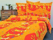 Krepové povlečen LUX 70x90-140x200 červené žirafky