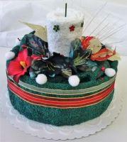 Veratex Textilní dort svícen tm.zelený/ bílý 2x ručník