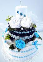 Veratex Textilní dort dvoupatrový modro/bílý