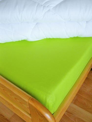 Bavlněné prostěradlo s gumou 90x200 cm do výšky matrace 15 cm (žlutozelená)
