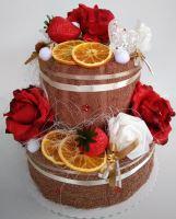 Veratex Textilní dort dvoupatrový růžičky