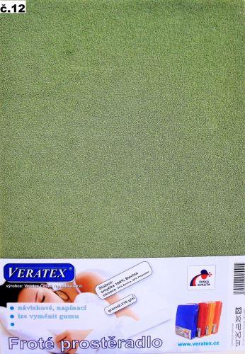 Froté prostěradlo 100x220 cm (č.12-stř.zelená)