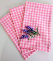 Utěrka tkaná kanafas 45x70cm růžové srdíčko