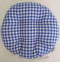 Sedák prošívaný kulatý průměr 40 cm tkaný kanafas modré srdíčko (dostupné cca od 25.11.)