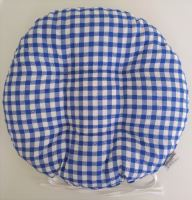 Sedák prošívaný kulatý průměr 40 cm tkaný kanafas modré srdíčko
