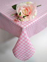 Bavlněný ubrus tkaný 120x140cm kanafas růžové srdíčko