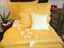 Damaškový povlak na polštářek 40x40cm (proužek sytě žlutý 2 cm)