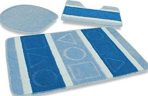 Koupelnová předložka LUX 3-dílný set modré čtverce