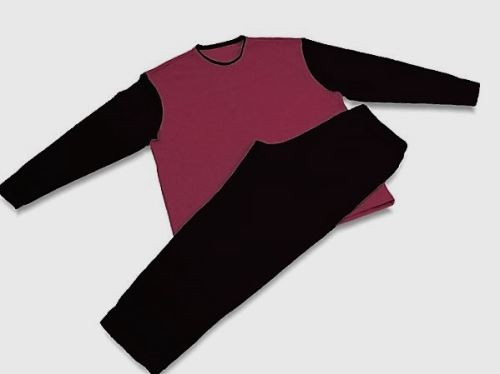 Pánské pyžamo 3519 černá-vínová (L)