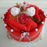 Veratex Textilní dort červené růžičky