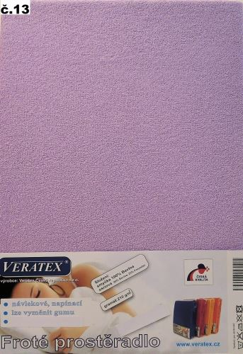 Froté prostěradlo 100x200/16 cm (č.13-fialková)