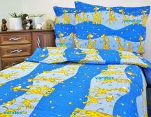 Povlečení krep LUX 70x90-140x200 modré žirafky